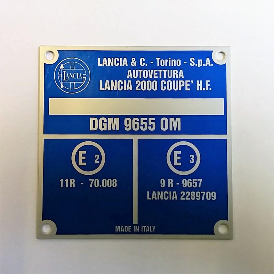 CAV1076 - Etichetta telaio Lancia 2000 Coupè HF